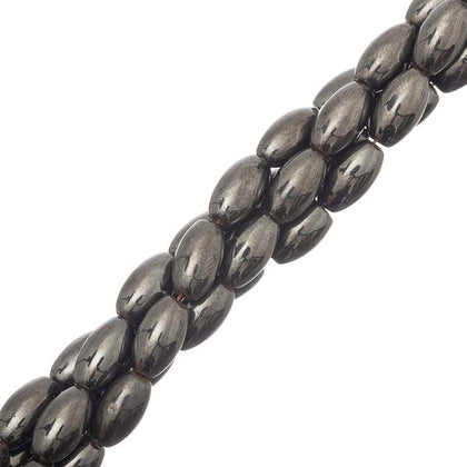 6x12mm Magnetic Hematite Oval Gemstone Beads 34/Strand