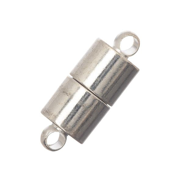 6x16mm Silver Barrel Magnetic Clasp 2/pk