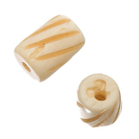 1/2 Inch Antique Ivory Carved Bone Beads 10/pk - i-Bead,  ANTIQUE