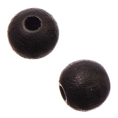 10mm Black Round Wood Beads 25/pk - i-Bead,  BLACK