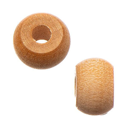 9mm Natural Wood Pony Beads