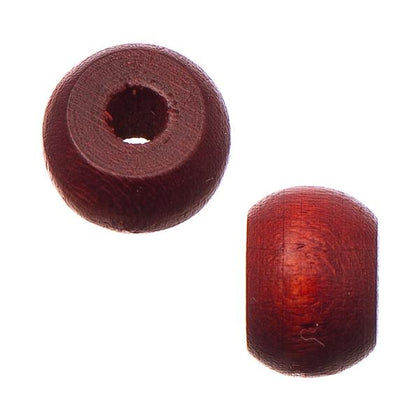 9mm Mahogany Wood Pony Beads