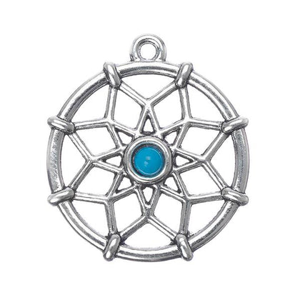 Dream Catcher Pendant with Turquoise Stone 5/pk