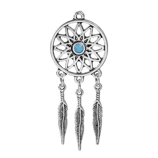 "2 4/8"" Dream Catcher with Feathers Metal Pendant 5/pk"
