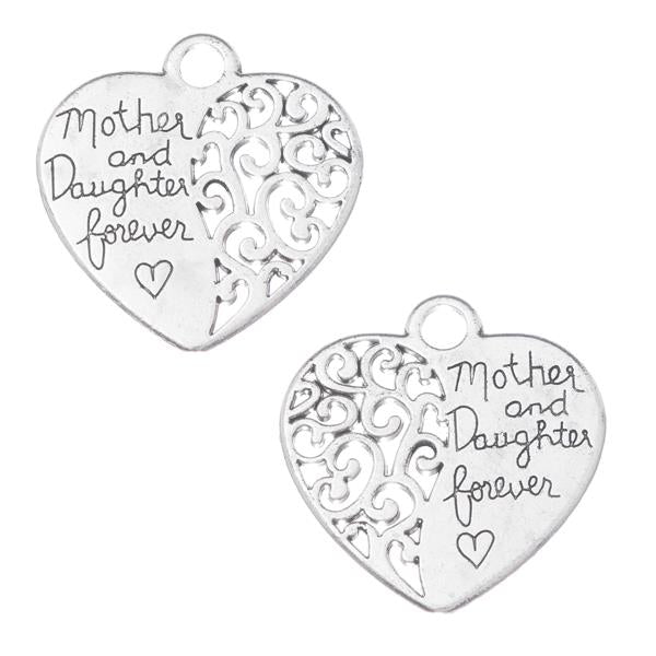 "1 1/8"" Mother and Daughter Forever Heart Charm 2/pk"