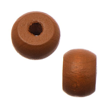 9mm Coffee Wood Pony Beads