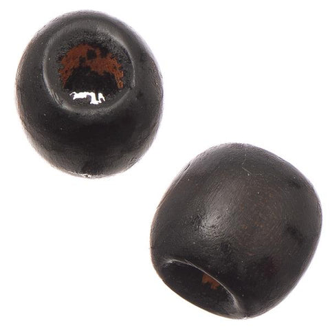 12mm Black Oval Wood Beads 100/pk - i-Bead,  BLACK