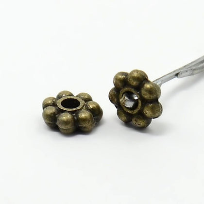 Antique Brass Flower Metal Spacer Beads 100/pk