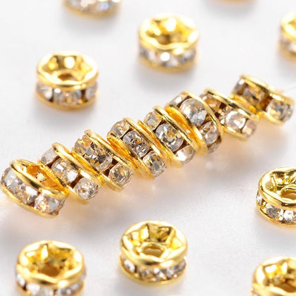 8mm Gold Crystal Rhinestone Rondelle 100/pk