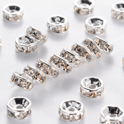 Silver 6mm Rhinestone Crystal Metal Bead 100/pk