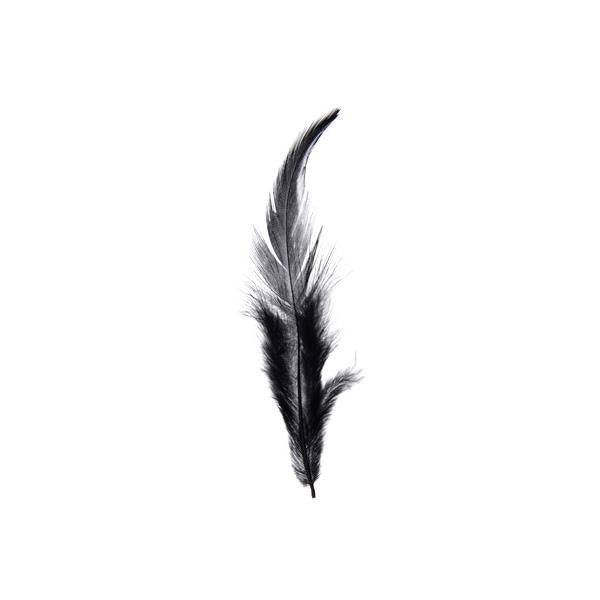 Rooster Saddle Hackle Feathers Black 3g