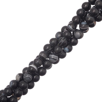 6mm Agate Striped Black (Natural/Dyed) Beads 15-16