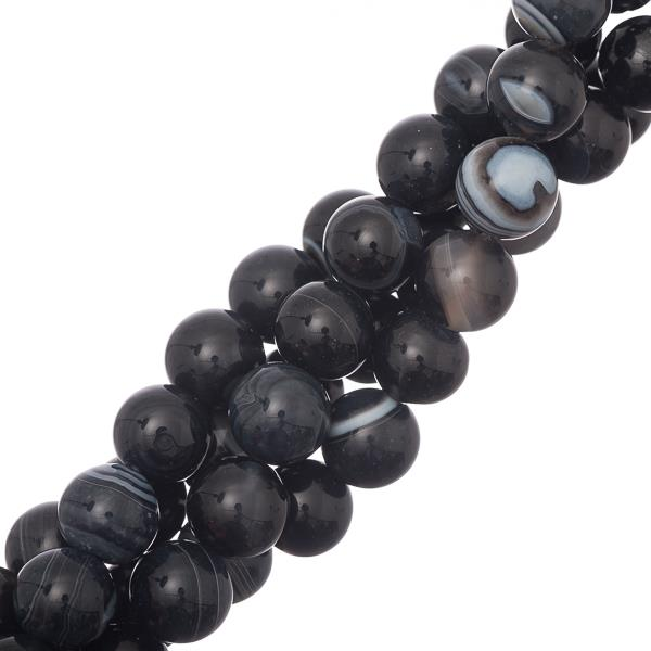 "10mm Agate Striped Black (Natural/Dyed) Beads 15-16"" Strand"