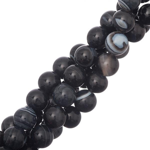 "10mm Black Striped Agate Gemstone Beads 15-16"" Strand"
