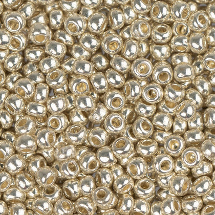 10/0 Czech Seed Beads Metallic Silver 22g