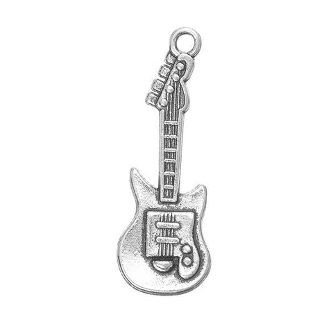 1 1/4 Inch Guitar Metal Pendant 10/pk - i-Bead,  ANTIQUE SILVER
