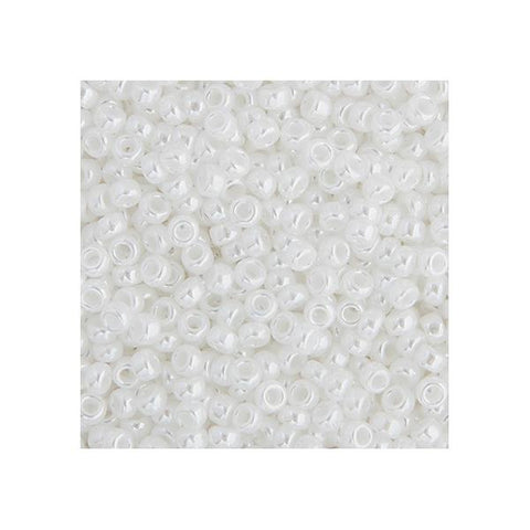 15/0 Japanese Seed Beads Opaque White Pearl Luster 22g - i-Bead,  JAPANESE SEEDBEAD