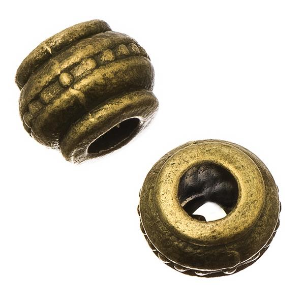Antique Brass Barrel 9mm Metal Bead 10/pk
