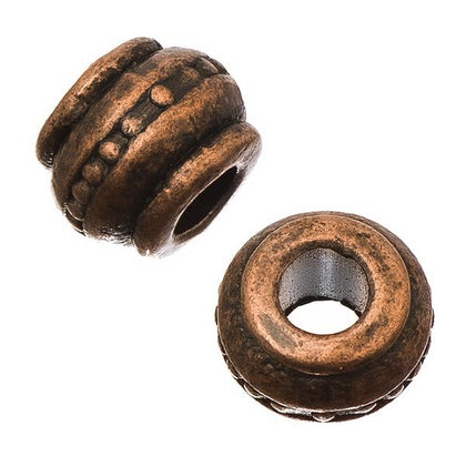 Antique Copper Barrel 9mm Metal Bead 10/pk