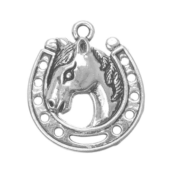 "7/8"" Horseshoe Horse Head Metal Charm 5/pk"