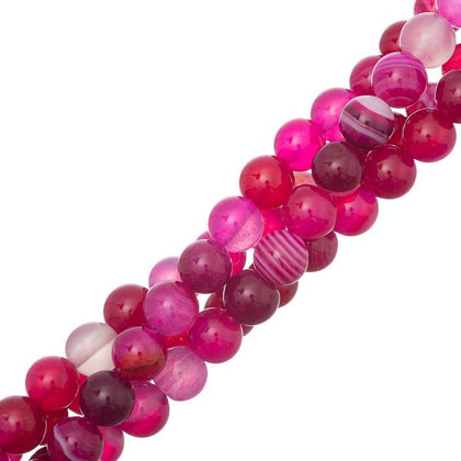 8mm Agate Striped Fuchsia (Natural/Dyed) Beads