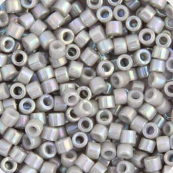 11/0 Japanese Delica Beads Opaque Light Grey Smoke AB 5.2g - i-Bead,  MIYUKI BEADS