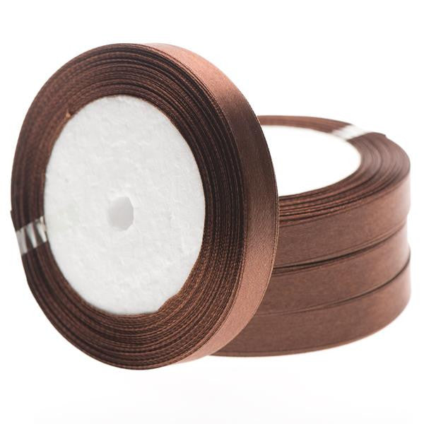 12mm Satin Ribbon Brown 25yd