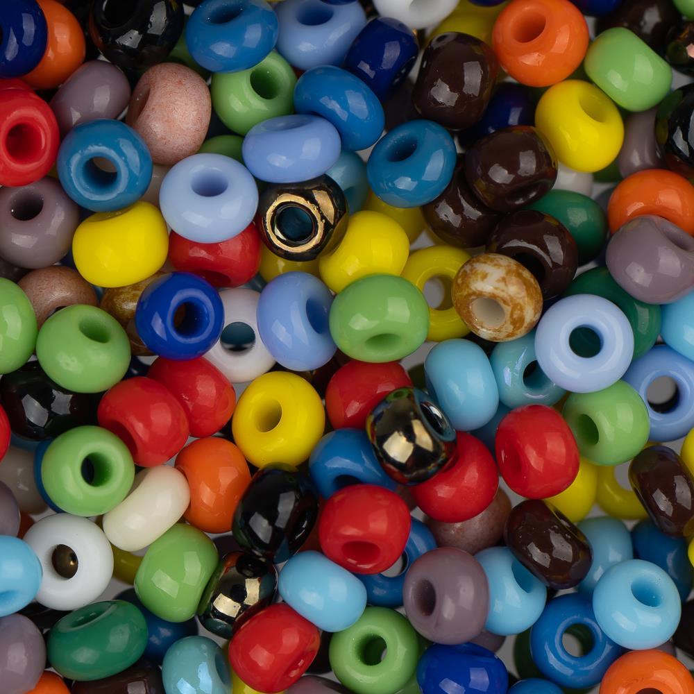 8/0 Czech Seed Beads Opaque Multi Mix 22g