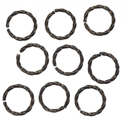 8mm Antique Brass Twisted Jump Rings 100/pk