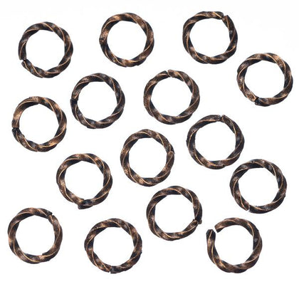 6mm Antique Copper Twisted Jump Rings 100/pk