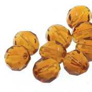 4mm Dark Amber Firepolished Facetted Beads 38/Strand