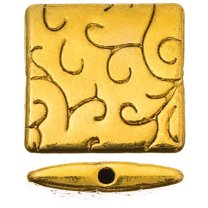15mm Antique Gold Square Metal Bead 5/pk