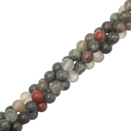 6mm round Bloodstone Gemstone beads