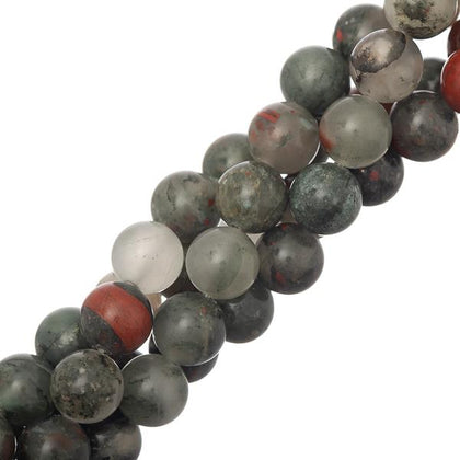 10mm Round Bloodstone Gemstone Beads