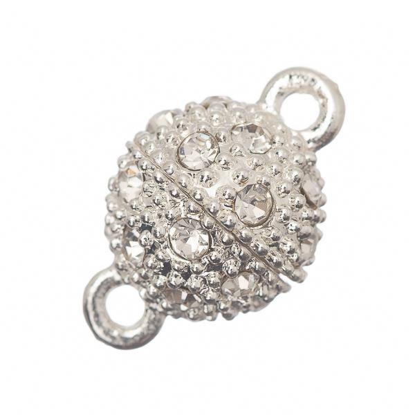 10mm Silver Magnetic Rhinestone Clasp 1/pk