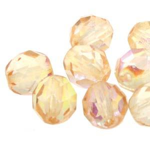 8mm Light Topaz Citrus Firepolished Facetted Beads 19/Strand
