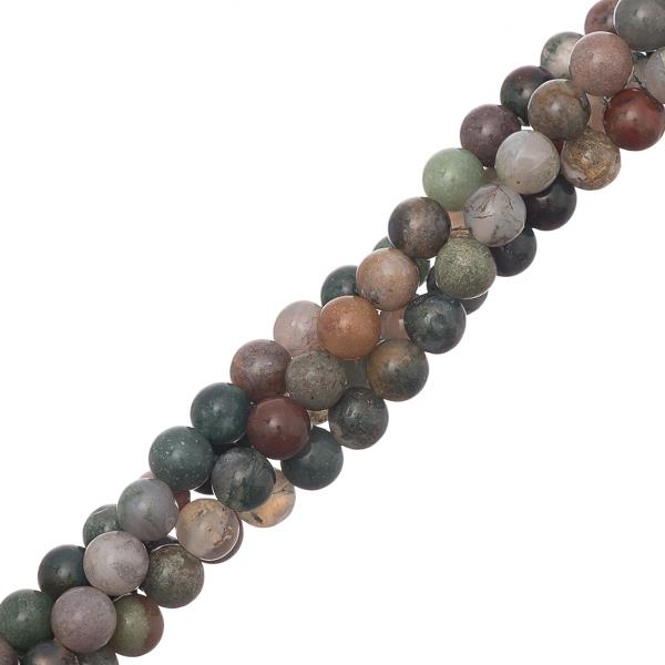 "6mm Agate Indian (Natural) Beads 15-16"" Strand"