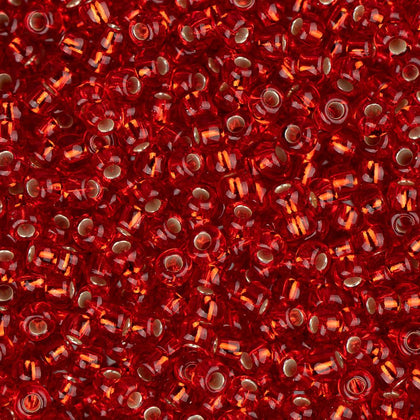 11/0 Czech Seed Beads Silver Lined Light Red 250g