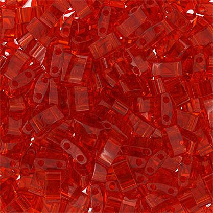 5x2.3mm Japanese Half Tila Beads Transparent Red 5.2g