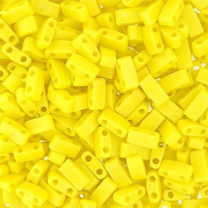 5x2.3mm Japanese Half Tila Beads Op Matte Lemon Yellow AB 5.2g