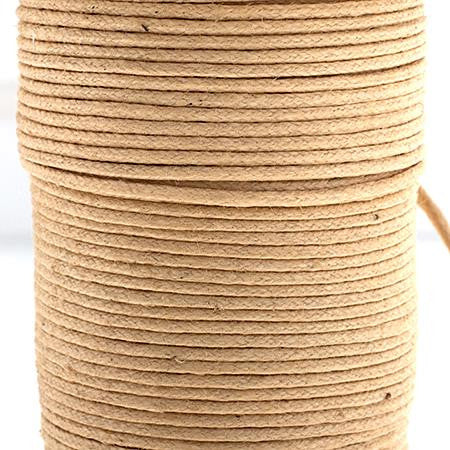 1mm Natural Waxed Cotton Cord 25m/spool