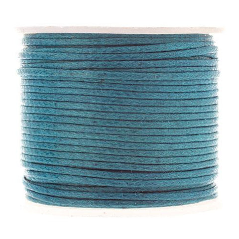 1mm Turquoise Blue Waxed Cotton Cord 25m/spool