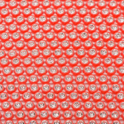 Plastic 2.4mm Neon Orange Rhinestone Banding 10yd