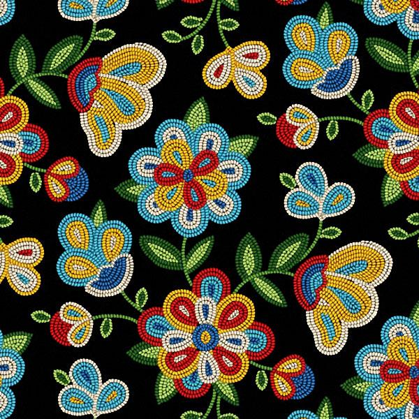 Beaded Floral Black 100% Cotton  - Price Per Yard