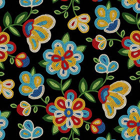 Beaded Flowers Black - Price Per Yard