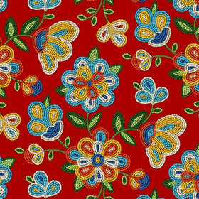 Beaded Flowers Red - Price Per Yard