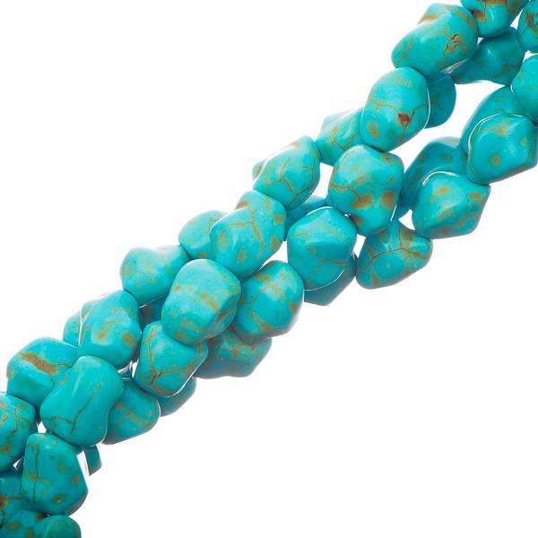 12-15mm Turquoise Nugget (Synthetic/Dyed) Beads 35/Strand