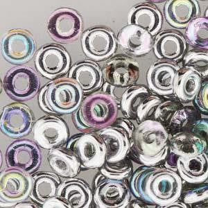 Czech O Beads 8.1g Crystal Silver Rainbow