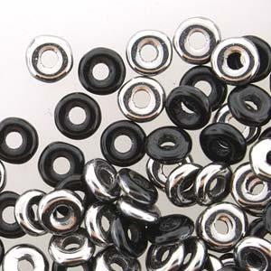 Czech O Beads 8.1g Jet Chrome