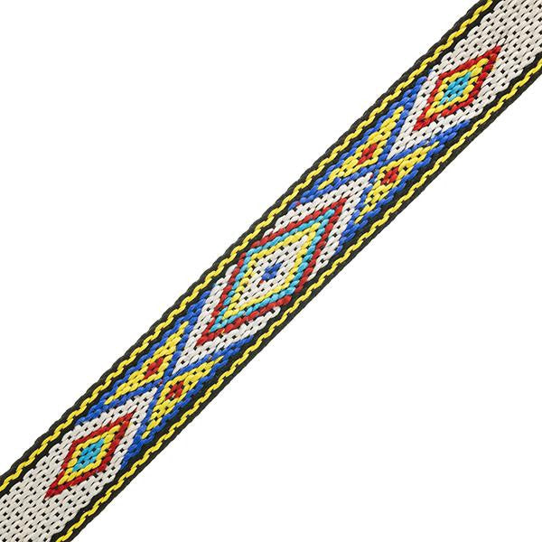 "3/4"" Embroidered Trim, White & Blue 5ft/Pkg"
